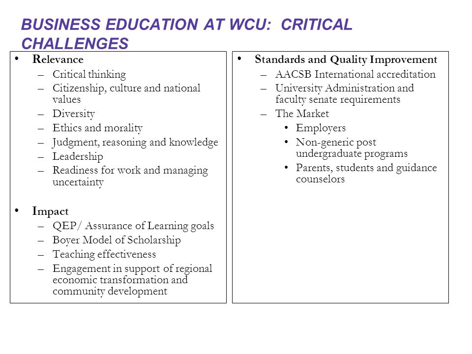 BUSINESS EDUCATION AT WCU: CRITICAL CHALLENGES R elevance –Critical thinking –Citizenship, culture and national values –Diversity –Ethics and morality –Judgment, reasoning and knowledge –Leadership –Readiness for work and managing uncertainty I mpact –QEP/ Assurance of Learning goals –Boyer Model of Scholarship –Teaching effectiveness –Engagement in support of regional economic transformation and community development S tandards and Quality Improvement – AACSB International accreditation – University Administration and faculty senate requirements – The Market Employers Non-generic post undergraduate programs Parents, students and guidance counselors