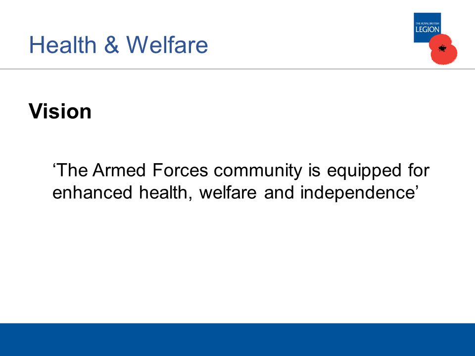 Health & Welfare Vision The Armed Forces community is equipped for enhanced health, welfare and independence