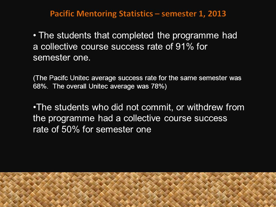 The students that completed the programme had a collective course success rate of 91% for semester one.