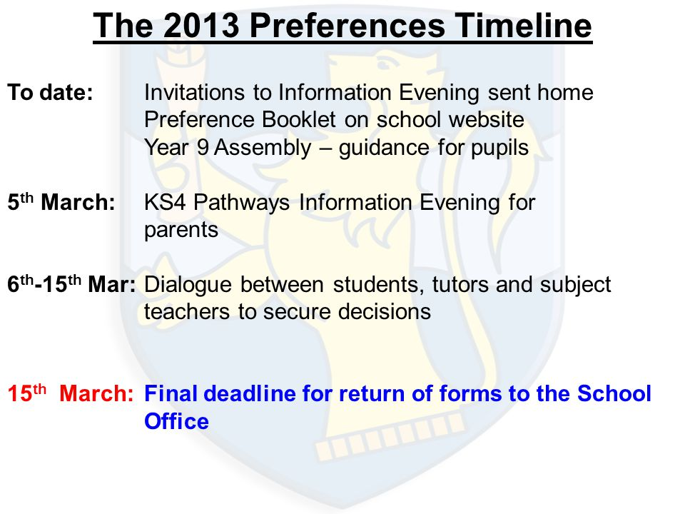 The 2013 Preferences Timeline To date:Invitations to Information Evening sent home Preference Booklet on school website Year 9 Assembly – guidance for pupils 5 th March:KS4 Pathways Information Evening for parents 6 th -15 th Mar:Dialogue between students, tutors and subject teachers to secure decisions 15 th March:Final deadline for return of forms to the School Office