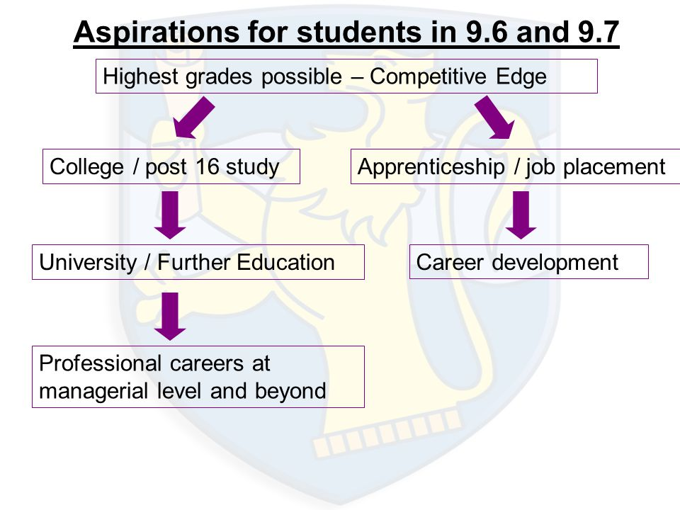 Aspirations for students in 9.6 and 9.7 Highest grades possible – Competitive Edge College / post 16 study University / Further Education Professional careers at managerial level and beyond Apprenticeship / job placement Career development