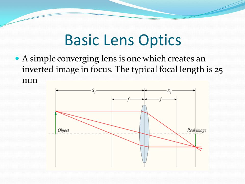 Basic Lens Optics A simple converging lens is one which creates an inverted image in focus.