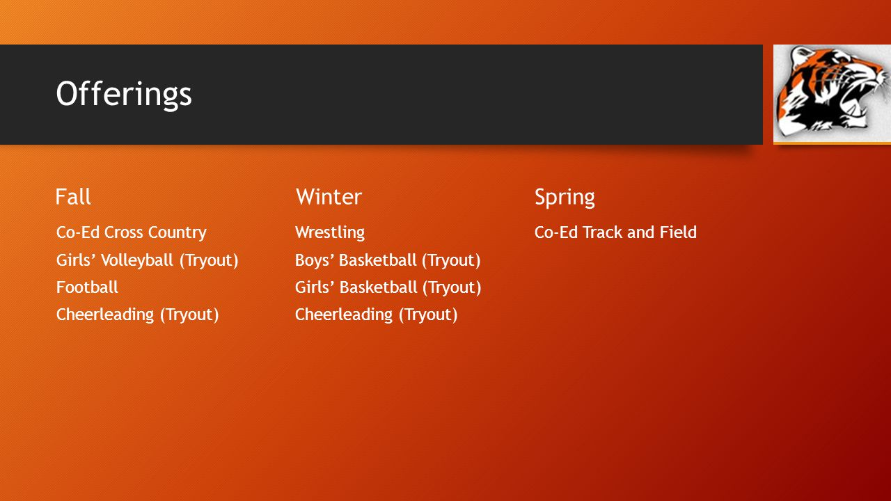 Offerings Fall Co-Ed Cross Country Girls Volleyball (Tryout) Football Cheerleading (Tryout) Winter Wrestling Boys Basketball (Tryout) Girls Basketball (Tryout) Cheerleading (Tryout) Spring Co-Ed Track and Field