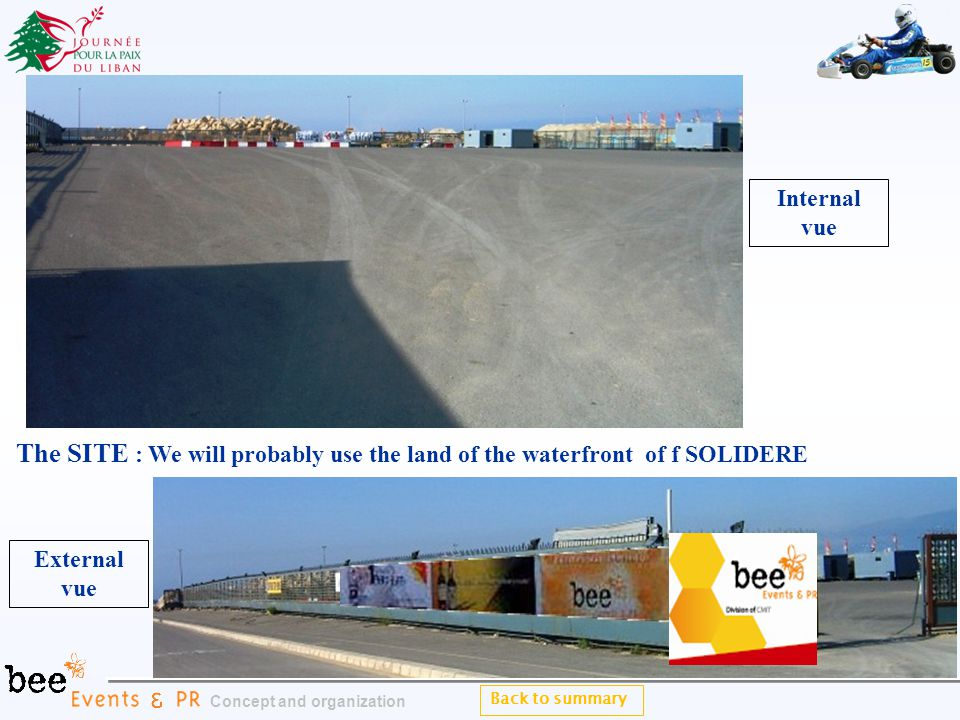 Back to summary Concept and organization The SITE : We will probably use the land of the waterfront of f SOLIDERE Internal vue External vue