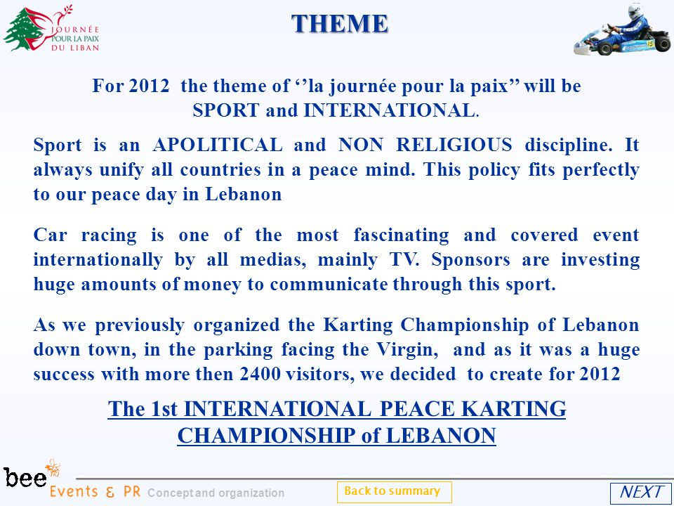 For 2012 the theme of la journée pour la paix will be SPORT and INTERNATIONAL.