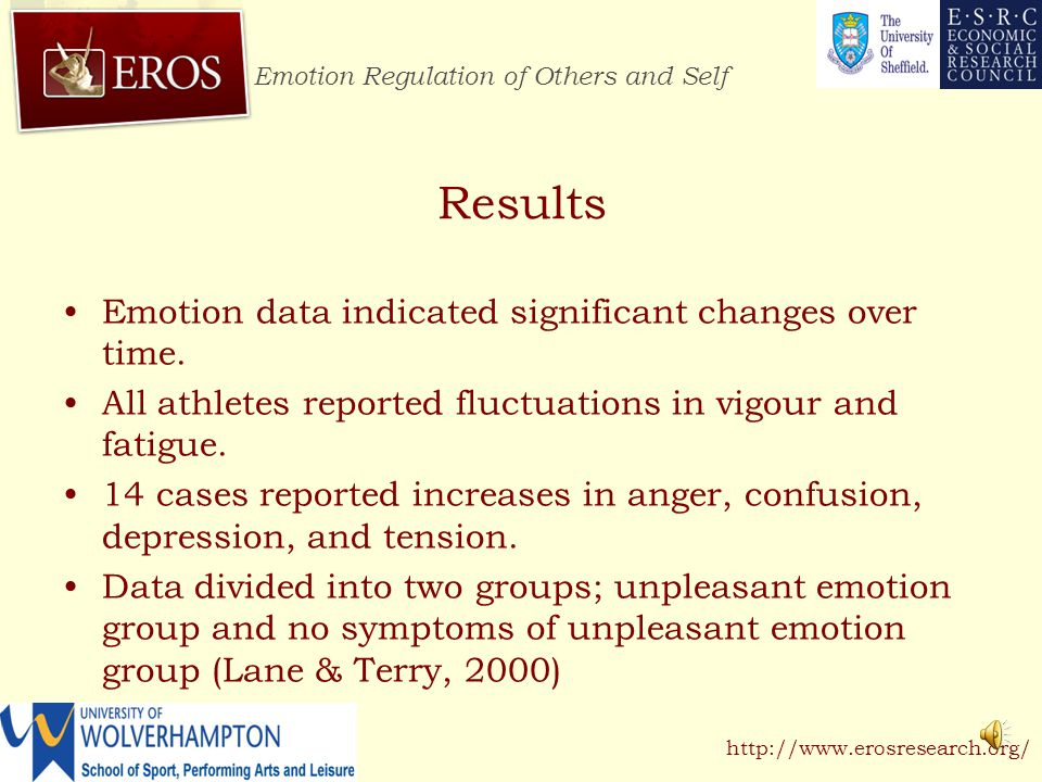 Emotion Regulation of Others and Self http://www.erosresearch.org/ Method Participants completed a 100-mile cycle performance in laboratory conditions at an speed equivalent to lactate threshold.