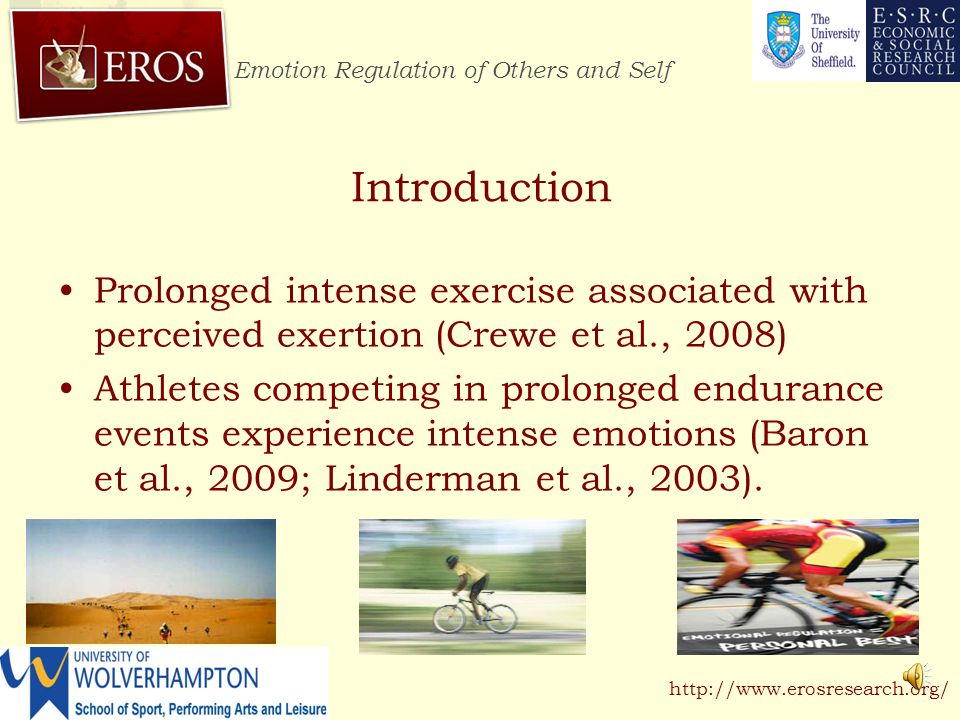 Emotion Regulation of Others and Self http://www.erosresearch.org/ Introduction Goal-pursuit activities such as athletic competition are associated with intense emotions (Terry & Lane, 2000)