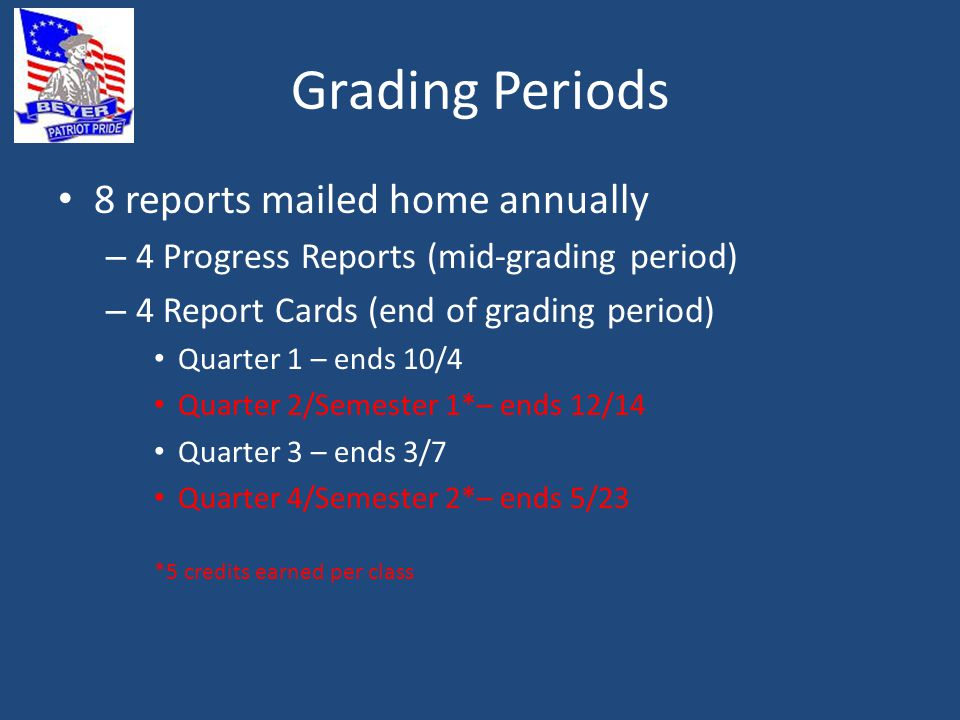 Grading Periods 8 reports mailed home annually – 4 Progress Reports (mid-grading period) – 4 Report Cards (end of grading period) Quarter 1 – ends 10/4 Quarter 2/Semester 1*– ends 12/14 Quarter 3 – ends 3/7 Quarter 4/Semester 2*– ends 5/23 *5 credits earned per class