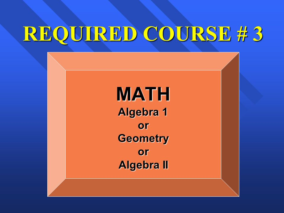 REQUIRED COURSE # 3 MATH Algebra 1 orGeometryor Algebra II