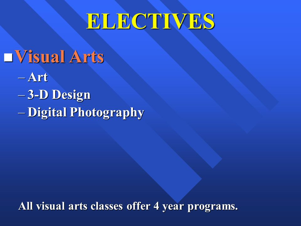 ELECTIVES n Visual Arts –Art –3-D Design –Digital Photography All visual arts classes offer 4 year programs.