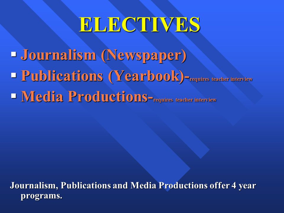 ELECTIVES Journalism (Newspaper) Journalism (Newspaper) Publications (Yearbook)- requires teacher interview Publications (Yearbook)- requires teacher interview Media Productions- requires teacher interview Media Productions- requires teacher interview Journalism, Publications and Media Productions offer 4 year programs.
