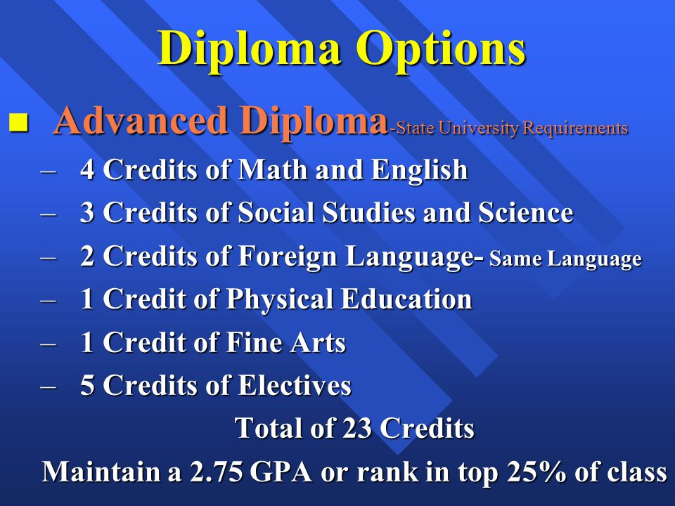 Diploma Options n Advanced Diploma -State University Requirements –4 Credits of Math and English –3 Credits of Social Studies and Science –2 Credits of Foreign Language- Same Language –1 Credit of Physical Education –1 Credit of Fine Arts –5 Credits of Electives Total of 23 Credits Maintain a 2.75 GPA or rank in top 25% of class