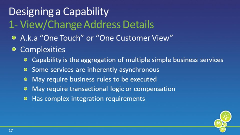 17 Designing a Capability 1- View/Change Address Details A.k.a One Touch or One Customer View Complexities Capability is the aggregation of multiple simple business services Some services are inherently asynchronous May require business rules to be executed May require transactional logic or compensation Has complex integration requirements