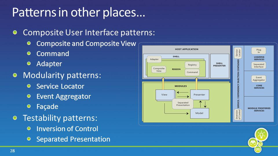 28 Patterns in other places… Composite User Interface patterns: Composite and Composite View Command Adapter Modularity patterns: Service Locator Event Aggregator Façade Testability patterns: Inversion of Control Separated Presentation