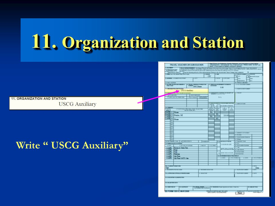 11. Organization and Station Write USCG Auxiliary