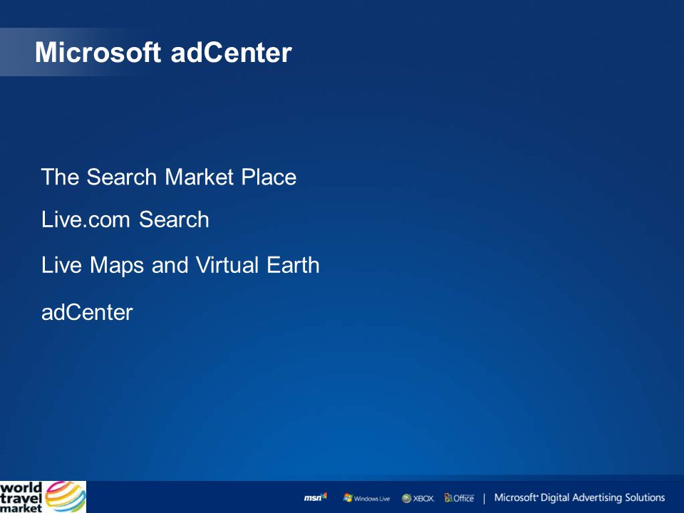 Microsoft adCenter The Search Market Place Live.com Search Live Maps and Virtual Earth adCenter