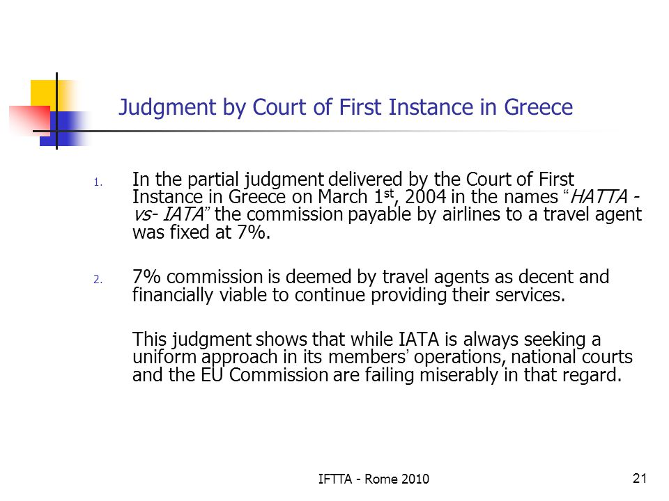 IFTTA - Rome 201021 Judgment by Court of First Instance in Greece 1.