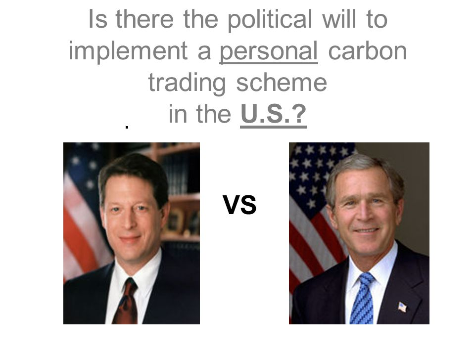 Is there the political will to implement a personal carbon trading scheme in the U.S. . VS