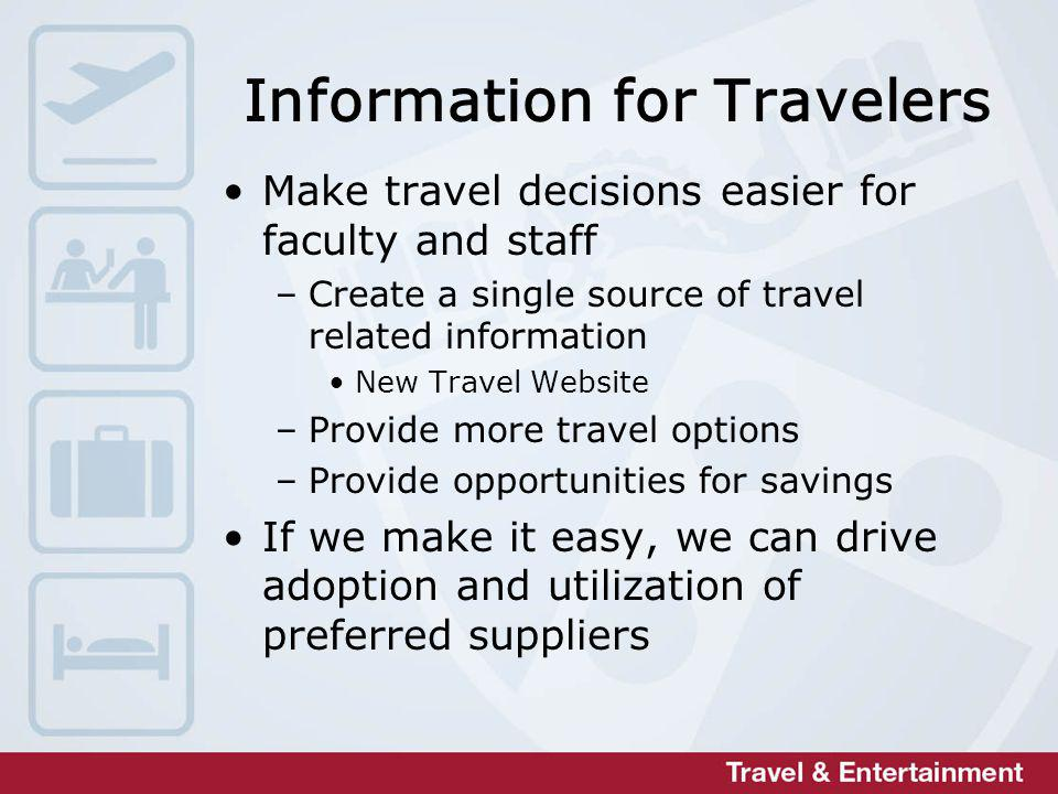 Information for Travelers Make travel decisions easier for faculty and staff –Create a single source of travel related information New Travel Website –Provide more travel options –Provide opportunities for savings If we make it easy, we can drive adoption and utilization of preferred suppliers