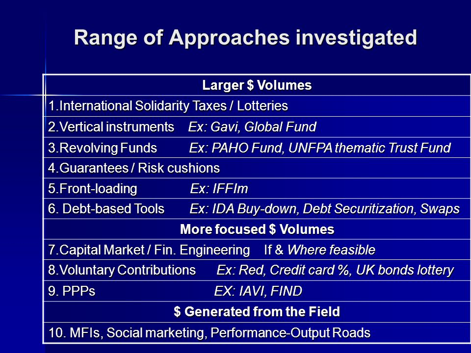 Range of Approaches investigated Larger $ Volumes 1.International Solidarity Taxes / Lotteries 2.Vertical instruments Ex: Gavi, Global Fund 3.Revolving Funds Ex: PAHO Fund, UNFPA thematic Trust Fund 4.Guarantees / Risk cushions 5.Front-loading Ex: IFFIm 6.
