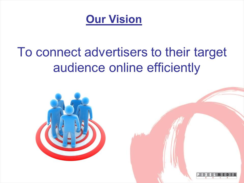 Our Vision To connect advertisers to their target audience online efficiently