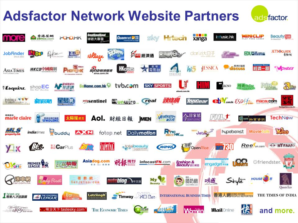 Adsfactor Network Website Partners and more.