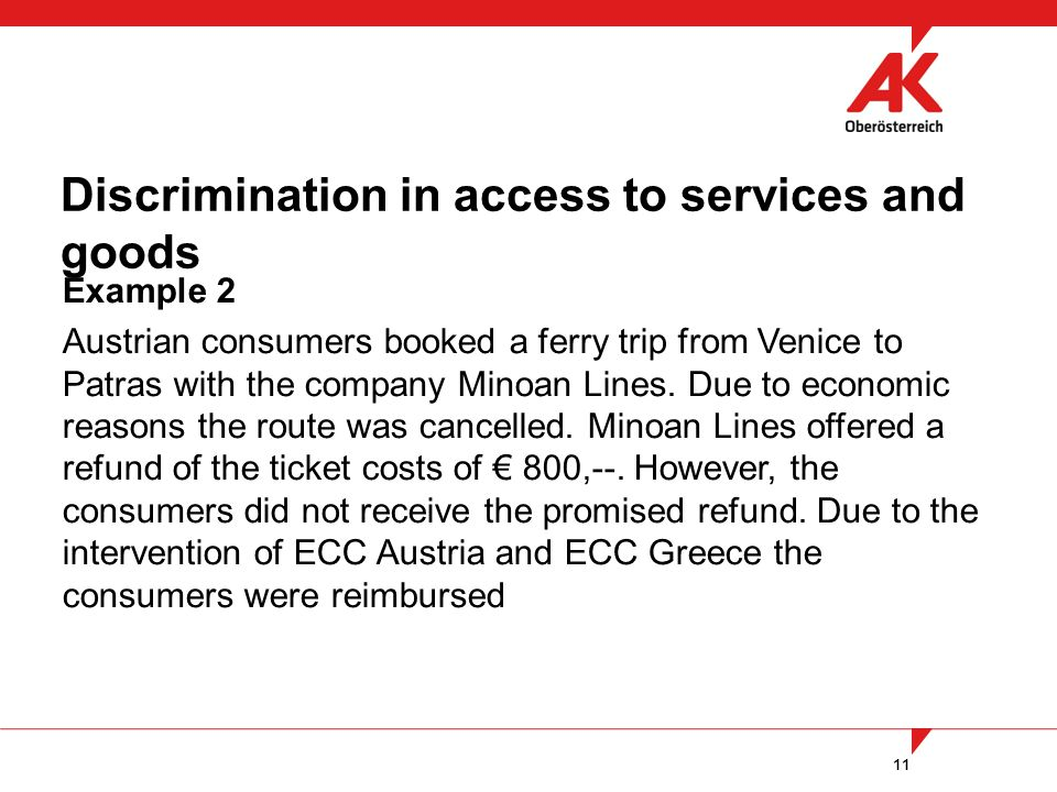 11 Example 2 Austrian consumers booked a ferry trip from Venice to Patras with the company Minoan Lines.
