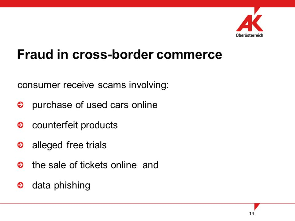 14 consumer receive scams involving: purchase of used cars online counterfeit products alleged free trials the sale of tickets online and data phishing Fraud in cross-border commerce