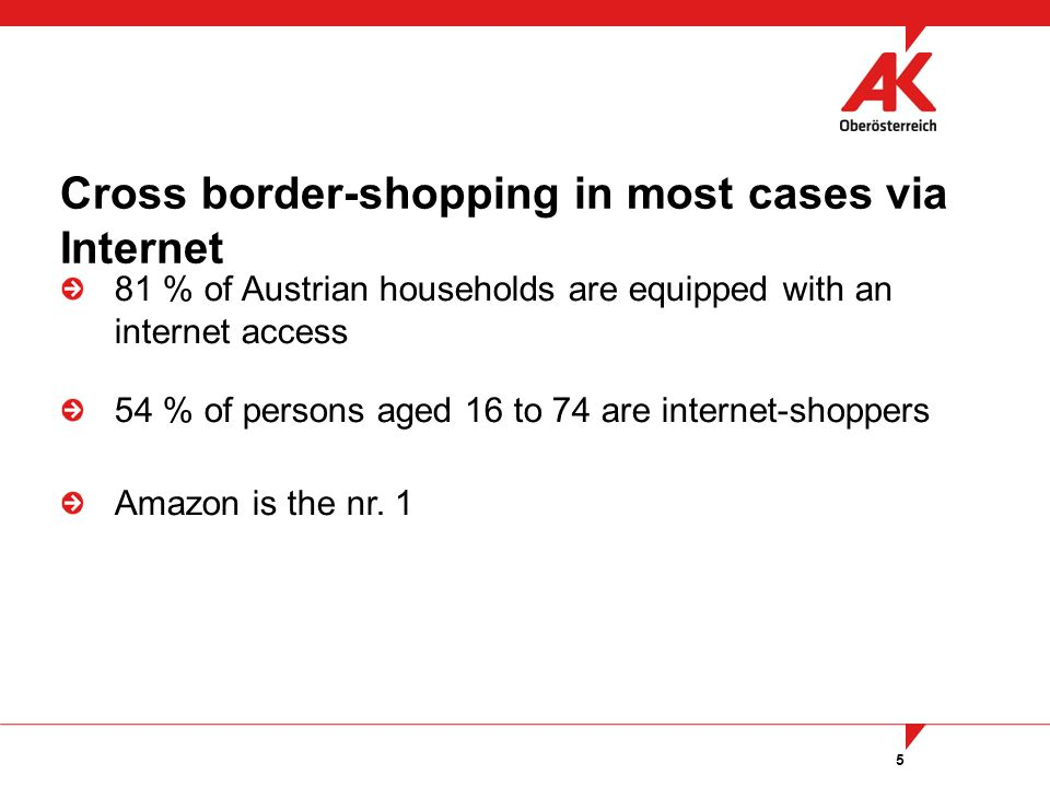 5 81 % of Austrian households are equipped with an internet access 54 % of persons aged 16 to 74 are internet-shoppers Amazon is the nr.