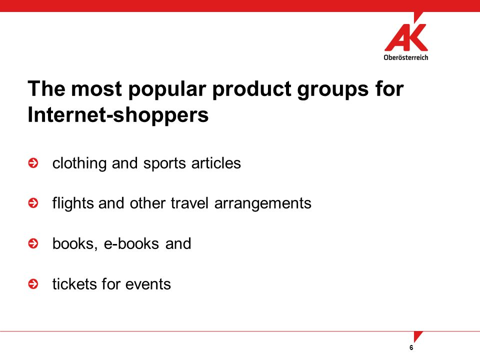 6 clothing and sports articles flights and other travel arrangements books, e-books and tickets for events The most popular product groups for Internet-shoppers