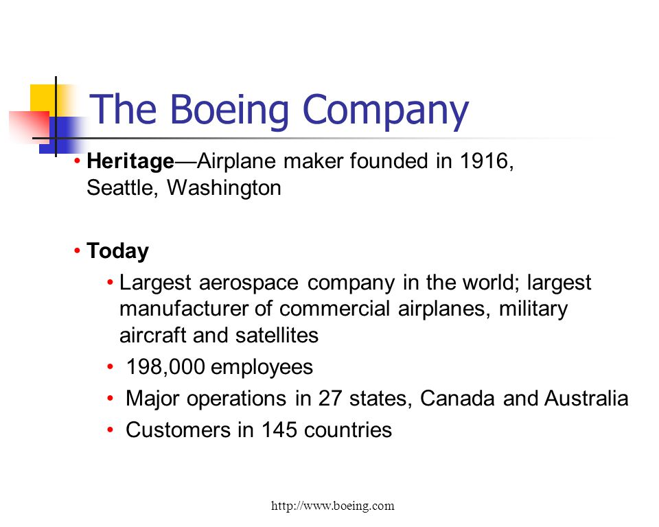 HeritageAirplane maker founded in 1916, Seattle, Washington Today Largest aerospace company in the world; largest manufacturer of commercial airplanes, military aircraft and satellites 198,000 employees Major operations in 27 states, Canada and Australia Customers in 145 countries The Boeing Company http://www.boeing.com