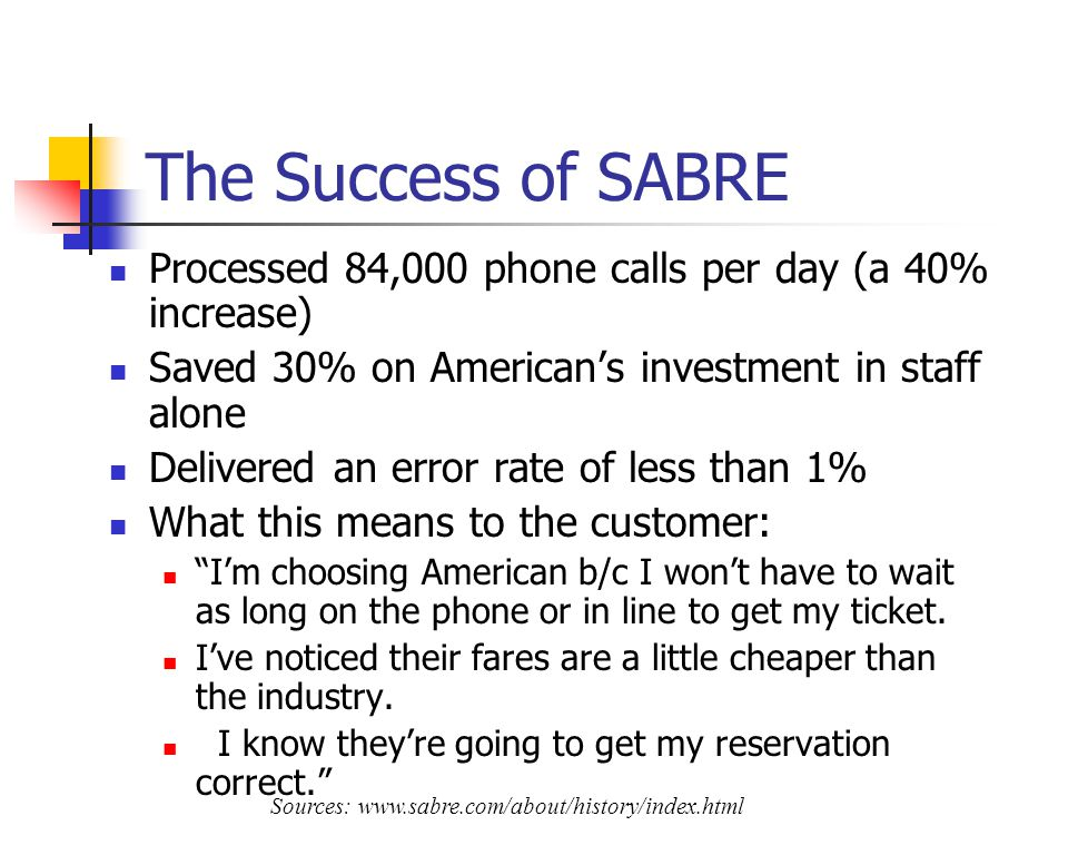 The Success of SABRE Processed 84,000 phone calls per day (a 40% increase) Saved 30% on Americans investment in staff alone Delivered an error rate of less than 1% What this means to the customer: Im choosing American b/c I wont have to wait as long on the phone or in line to get my ticket.