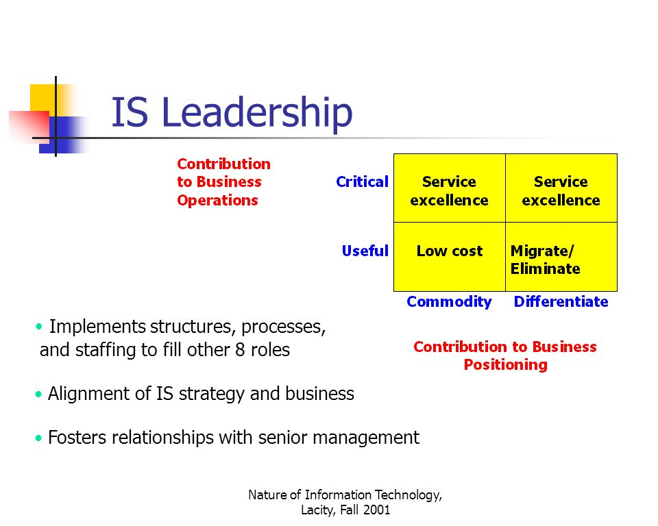 Nature of Information Technology, Lacity, Fall 2001 Implements structures, processes, and staffing to fill other 8 roles Alignment of IS strategy and business Fosters relationships with senior management IS Leadership
