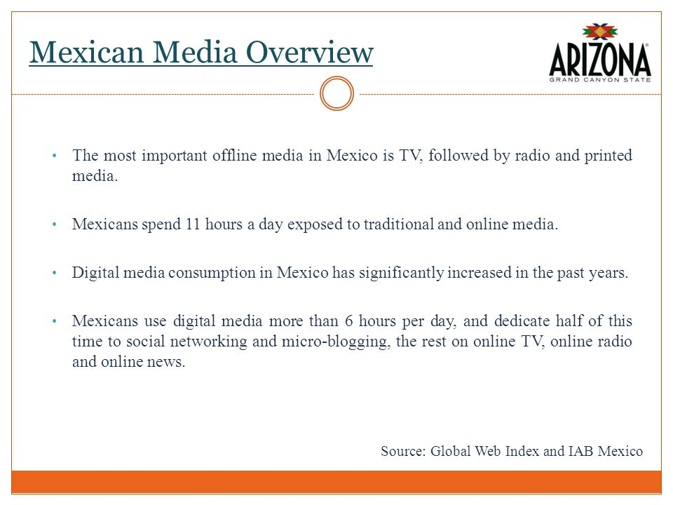 Mexican Media Overview The most important offline media in Mexico is TV, followed by radio and printed media.