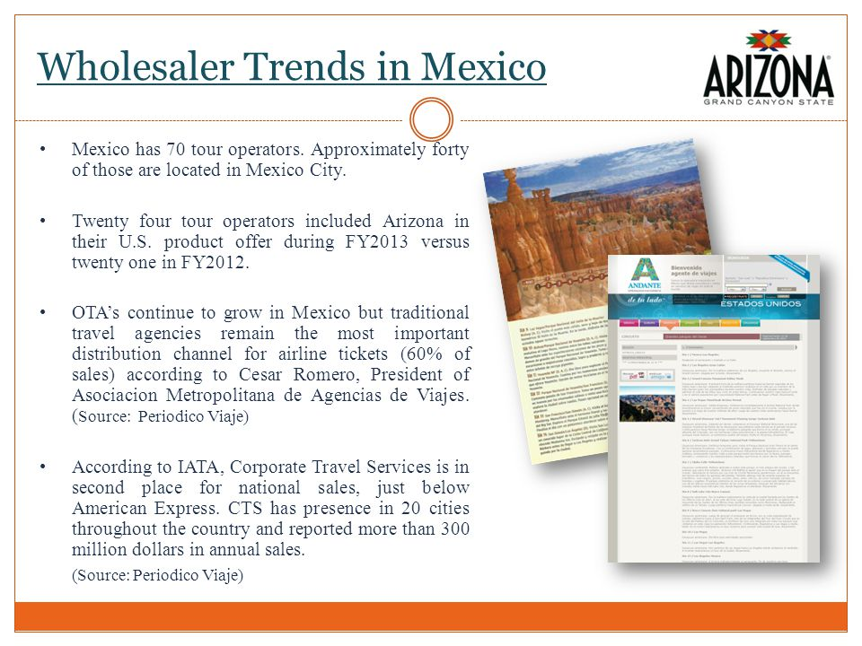 Wholesaler Trends in Mexico Mexico has 70 tour operators.