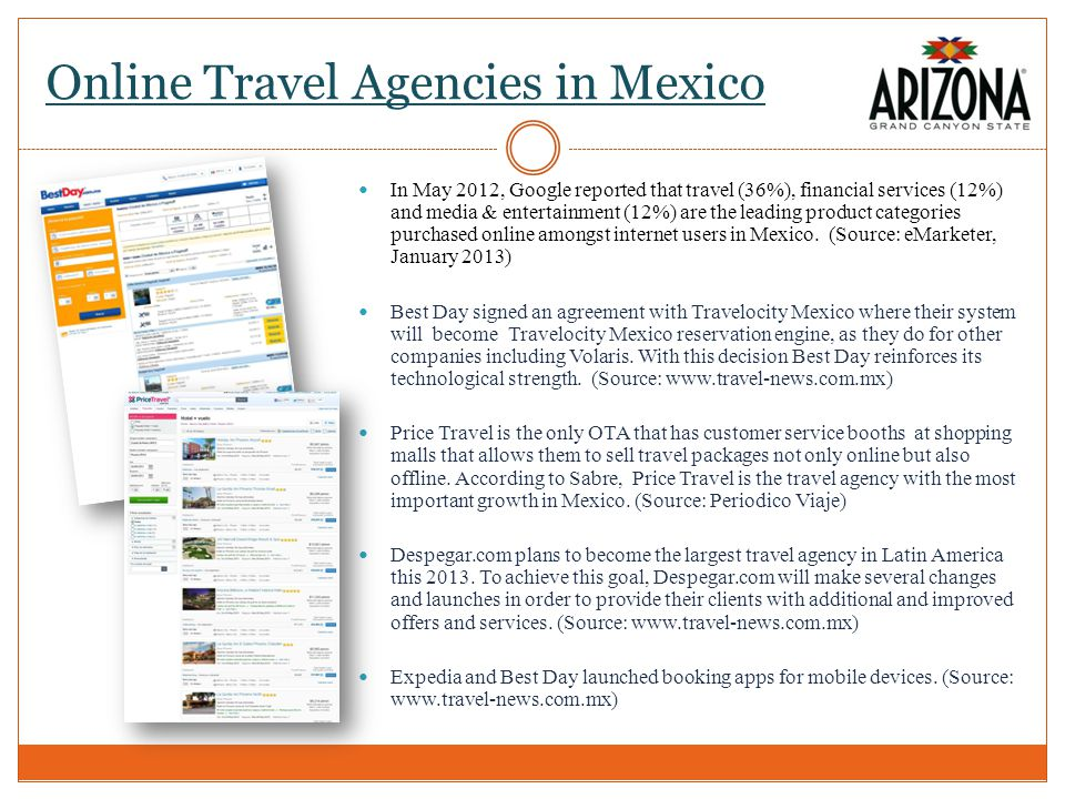 Online Travel Agencies in Mexico In May 2012, Google reported that travel (36%), financial services (12%) and media & entertainment (12%) are the leading product categories purchased online amongst internet users in Mexico.