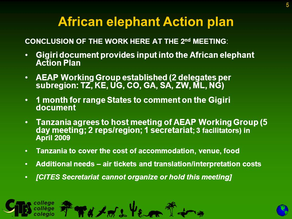 5 African elephant Action plan CONCLUSION OF THE WORK HERE AT THE 2 nd MEETING: Gigiri document provides input into the African elephant Action Plan AEAP Working Group established (2 delegates per subregion: TZ, KE, UG, CO, GA, SA, ZW, ML, NG) 1 month for range States to comment on the Gigiri document Tanzania agrees to host meeting of AEAP Working Group (5 day meeting; 2 reps/region; 1 secretariat ; 3 facilitators) in April 2009 Tanzania to cover the cost of accommodation, venue, food Additional needs – air tickets and translation/interpretation costs [CITES Secretariat cannot organize or hold this meeting]