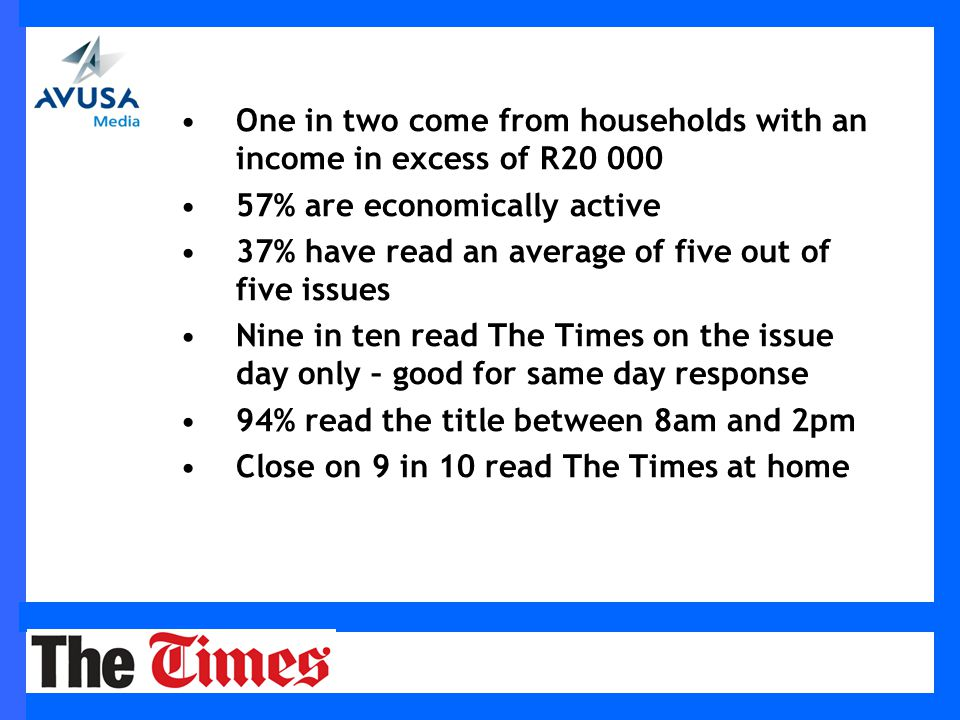 One in two come from households with an income in excess of R20 000 57% are economically active 37% have read an average of five out of five issues Nine in ten read The Times on the issue day only – good for same day response 94% read the title between 8am and 2pm Close on 9 in 10 read The Times at home