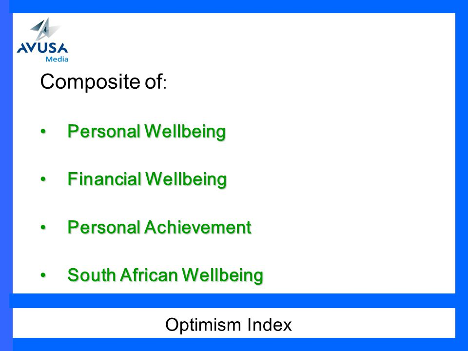 Composite of : Personal WellbeingPersonal Wellbeing Financial WellbeingFinancial Wellbeing Personal AchievementPersonal Achievement South African WellbeingSouth African Wellbeing Optimism Index