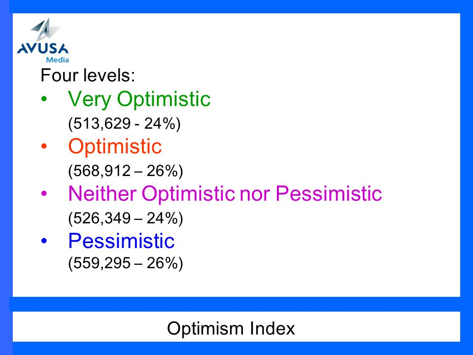 Four levels: Very Optimistic (513,629 - 24%) Optimistic (568,912 – 26%) Neither Optimistic nor Pessimistic (526,349 – 24%) Pessimistic (559,295 – 26%) Optimism Index