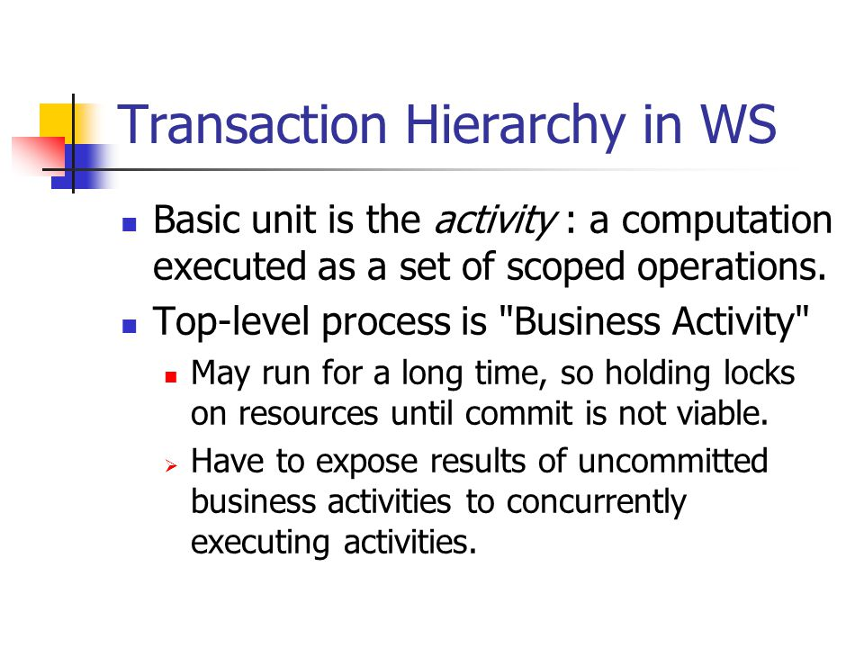 Transaction Hierarchy in WS Basic unit is the activity : a computation executed as a set of scoped operations.