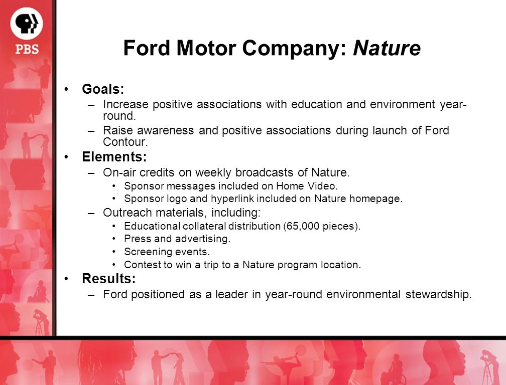 Ford Motor Company: Nature Goals: –Increase positive associations with education and environment year- round.