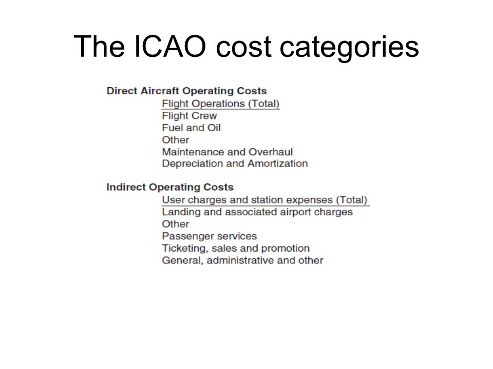 The ICAO cost categories