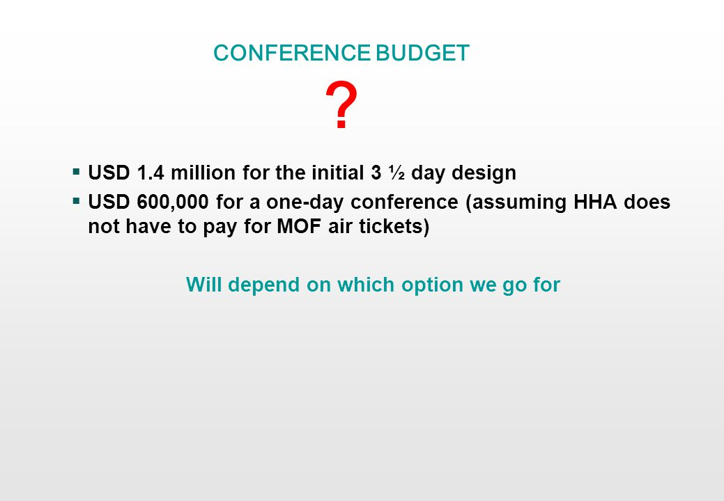 CONFERENCE BUDGET .