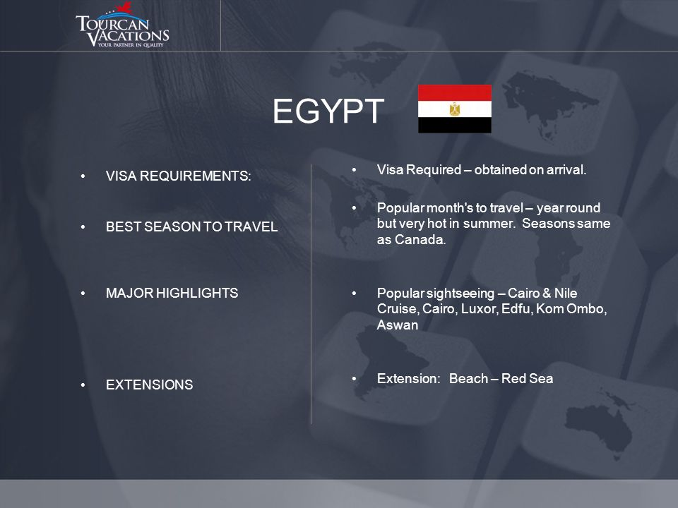 EGYPT VISA REQUIREMENTS: BEST SEASON TO TRAVEL MAJOR HIGHLIGHTS EXTENSIONS Visa Required – obtained on arrival.