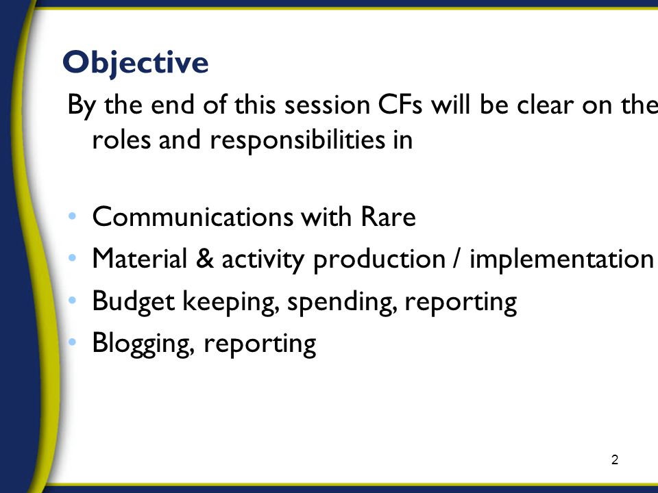 Objective By the end of this session CFs will be clear on their roles and responsibilities in Communications with Rare Material & activity production / implementation Budget keeping, spending, reporting Blogging, reporting 2