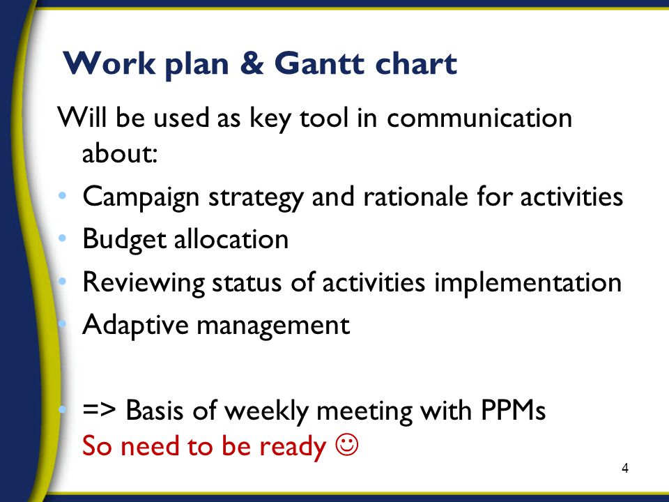 Work plan & Gantt chart Will be used as key tool in communication about: Campaign strategy and rationale for activities Budget allocation Reviewing status of activities implementation Adaptive management => Basis of weekly meeting with PPMs So need to be ready 4