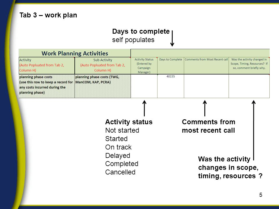 5 Tab 3 – work plan Activity status Not started Started On track Delayed Completed Cancelled Days to complete self populates Comments from most recent call Was the activity changes in scope, timing, resources