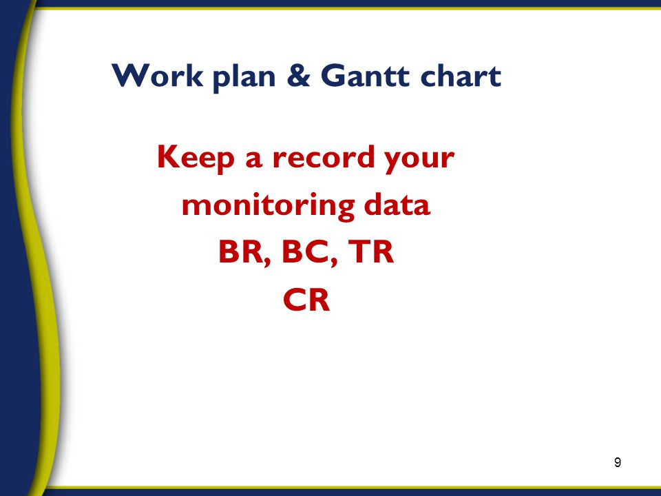 Keep a record your monitoring data BR, BC, TR CR 9 Work plan & Gantt chart