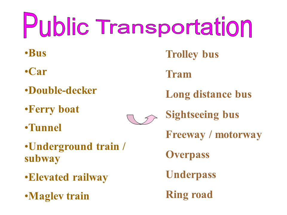 Bus Car Double-decker Ferry boat Tunnel Underground train / subway Elevated railway Maglev train Trolley bus Tram Long distance bus Sightseeing bus Freeway / motorway Overpass Underpass Ring road